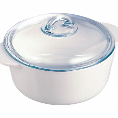 Pyroflam 1 Litre Round Casserole Dish - White