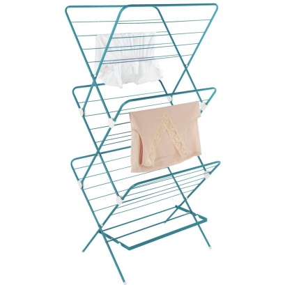 20m 3 Tier Indoor Clothes Airer - Fiesta Blue