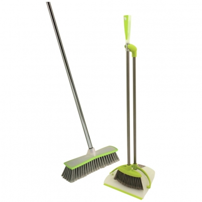 91 Hour Glass Indoor Broom and Long Handle Dustpan Set